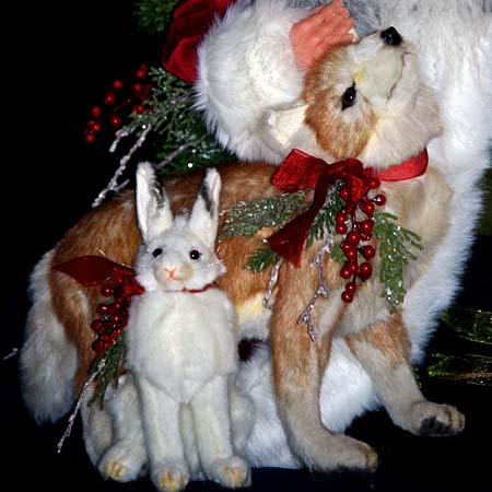 Alpine High Collectible Santa 28 inch high with Bear Rabbit Fox by Stone Soup Designs 415 927 3527