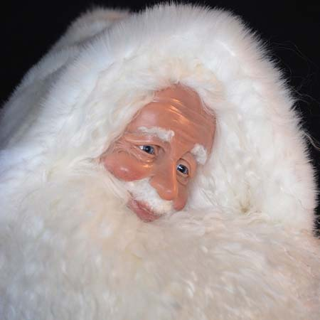Arctic Sparkle Collectible Santa 28 inch with White Bear and Gifts by Stone Soup Designs 415 927 3527