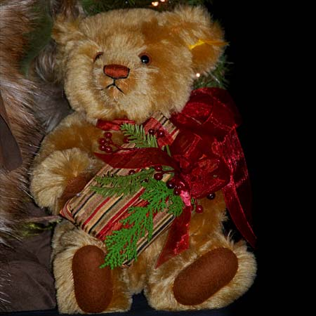 Bearing Gifts Collectible Santa 28 inch with Brown Teddy Bear and Gift Bag by Stone Soup Designs 415 927 3527