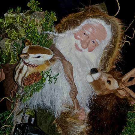 Black Forest Collectible Santa 28 inch with Brown Reindeer and Fawn by Stone Soup Designs 415 927 3527