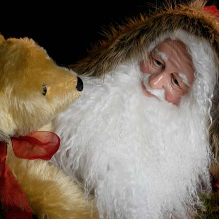 Comfort and Joy Collectible Santa 28 inch with Brown Teddy Bears and Gifts 415 927 3527 Stone Soup Designs