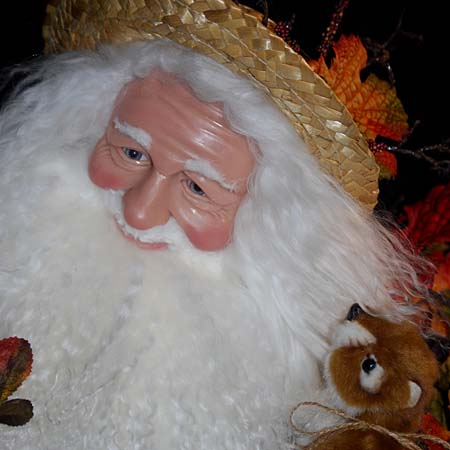 Fall Frolic Collectible Santa 28 inch with Chipmunks Rat and Pumpkin 415 927 3527 Stone Soup Designs