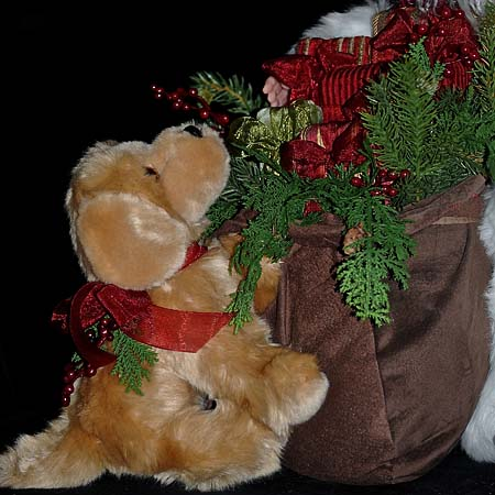 Glad Tidings Collectible Santa 28 inch with Dog and Gift Bag 415 927 3527 Stone Soup Designs