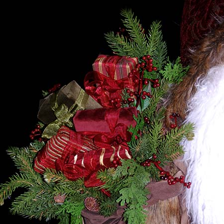 Nordic Night Collectible Santa 27 to 32 inch with reindeer and gift bag 415 927 3527 Stone Soup Designs