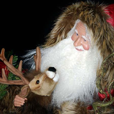 Sinterklaas Collectible Santa 28 inch with reindeer 415 927 3527 Stone Soup Designs 3